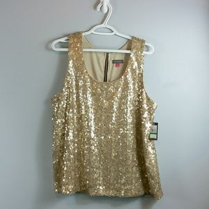 Vince Camuto NWT gold sequence top
